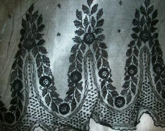 Antique black chantilly type lace pretty pattern