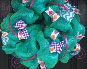 SALE!! Spring Mesh Wreath, Summer Wreath
