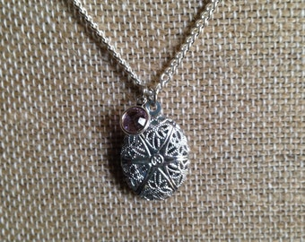 Itsby bitsy silver plated diffuser locket with birth stone- Comes with Leather Pads-Silver Filigree Locket-Aromatherapy