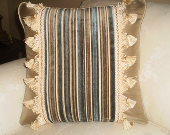Decorative 16x16 Pillow Cover beige silk with striped pattern with fringe
