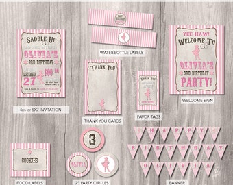 Cowgirl Birthday Party Package - Cowgirl Birthday Invitation - Cowgirl Party - Cowgirl Theme Birthday - Cowgirl Printable Party Package