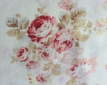 Half  yard- Durham Quilt Collection/ 30821-30/ Printed by LECIEN - Big Antique Rose/Peony/Flowers in shades of RED on Off White Background