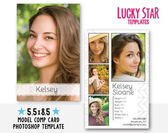 Modeling comp card etsy for Free model comp card template psd
