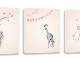 Canvas Art for Baby Girls, Set of Three Watercolor Nursery Art Prints, Elephant, Giraffe and Owl Artwork - S050B