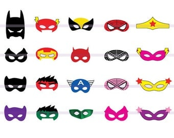 Instand DL -20 SUPERHERO Masks Cut-Out Birthday Party -Printable -Mask (Printable)
