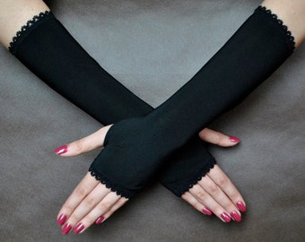 Elegant evening GOTHIC VAMPIRE Victorian Burlesque Glamour  fingerless GLOVES, mittens, armwarmers, black fabric with special thumb holes