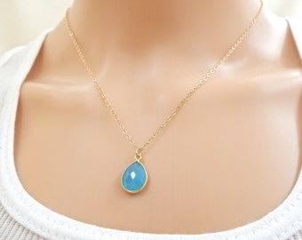 Natural Chalcedony Teardrop Necklace, Blue Tear Drop Necklace