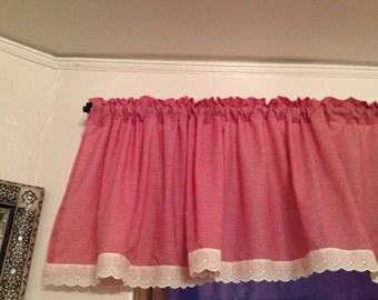 Red baby Gingham Valance