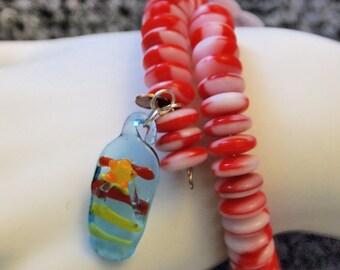 Candy Stripes Memory Wire Bracelet - handmade in the U.S.