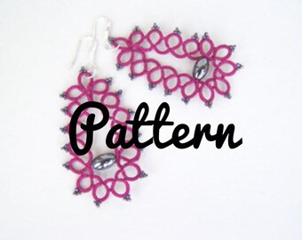 Tatting pattern for tatting earrings - shuttle tatting or needle tatting- diagram, instructions frivolity pattern model tutorial DIY