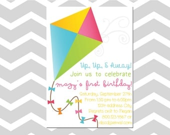 Kite Birthday Invitation/Card Kite Birthday Party Boy Or Girl Birthday Invitation/Card