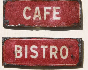 Miniature Dollhouse Vintage Inspired Tin Sign - Home, Bistro, Cafe, Pie (Red)