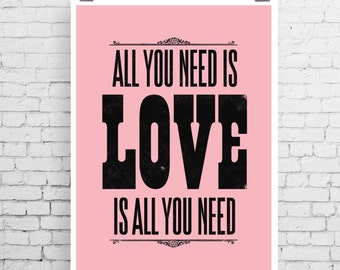 Beatles song lyric art, The Beatles art print, music inspired print, typographic print, All You Need Is Love, The Beatles, song lyric print