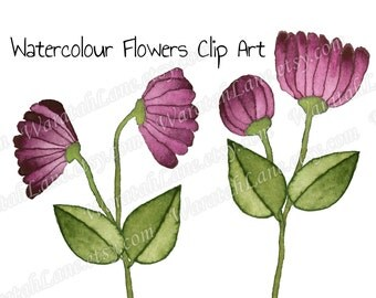 Watercolor Clip Art Flowers Clipart Floral clip art Pink Burgundy Green Branch Leaves for wedding stationery sign DIY PNG