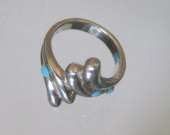 Handmade Vintage 925 Sterling Silver Ring Size 7 with Swarovski Rhinestones