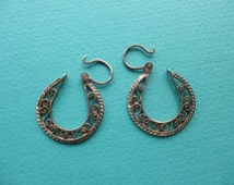 Taxco Silver Hoop Earrings Vintage Frida Style Filigree Sterling Silver Pierced Earrings 1980s