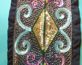 "Haitian Voodoo Flag Vintage Sequin Wallhanging ""Veve"" for Bapa Loko made in the 1980's"