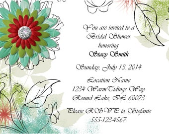 Bridal Shower Invitation:  Flowers (digital, custom)
