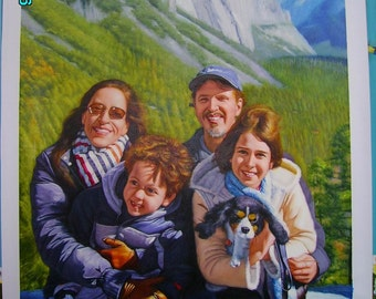 Custom oil portrait painting,original realistic oil painting family portrait,pet portrait and etc in any size,Five Figures