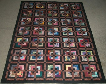 Hand Made Scrappy Throw Quilt by Jean Madan