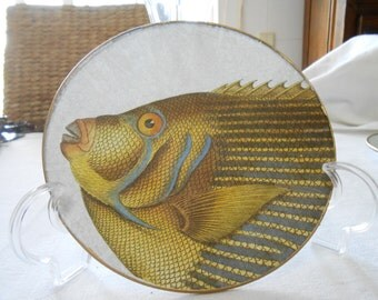 Decoupage glass dish. Fishes Collection
