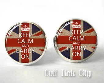 Keep Calm and Carry On Cuff Links, Mens Cufflinks,England,Britain,British,Flag, Mens Accessories, Gift for a Man,Picture,Husband,Boyfriend