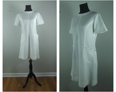 60s Mod Dress White Short Sleeve Scooter Shift with Scalloped Pockets Sz L