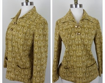 70s Disco shirt yellow and olive collared long sleeve