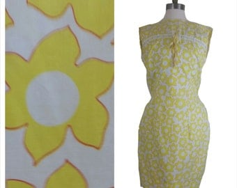 60s mod dress yellow floral shift small