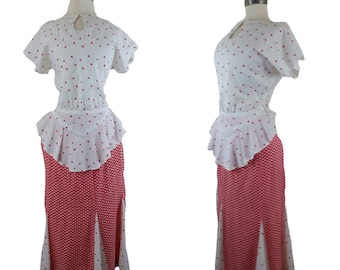 80s peplum Dress 2 piece red and white hearts skirt and blouse M