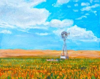 Midwestern Landscape Painting of Sunflowers and Windmill