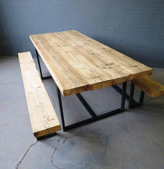 R cup ration industrielle chic 6 8 places repas m tal bois for Table a diner bois et metal
