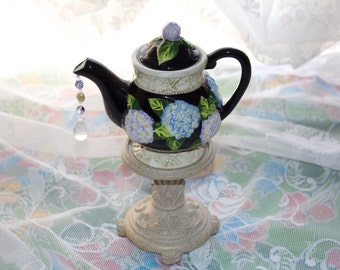 Black Miniature Teapot Centerpiece, Wonderland Mad Hatter Tea Party Decorations