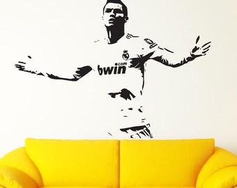 Real Madrid Decal Cristiano Ronaldo Wall Decal Sticker CR7 Decal Footballer Soccer Wall art Ronaldo Decal Ronaldo Sticker Ronaldo Poster