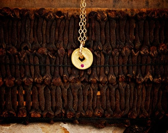 Tiny Gold Disc Layering Necklace with Ruby ~ Ancient Coin Necklace ~ Small Dainty Necklace ~ Tiny Gold Necklace for Layering