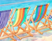 Watercolor painting of beach chairs at Lyme Regis, England. Bright, sunny day!