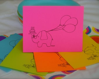 Birthday Card - Party Animal -Set or Single - Happy Birthday Multi-Color Cards- Adults & Children. Hand Drawn Elephant with Balloons