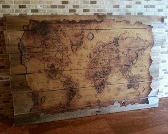 Antique Style Framed World Map