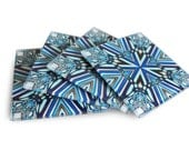 """Glass Coasters - Art Deco inspired geometric abstract pattern, blue and white smooth glass bar coasters for drinks - """"DecoSq1"""""""