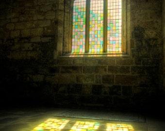 Peace, original fine art photography, print, church, light, scotland, color, seton sands, collegiate, window, sun, history, architecture