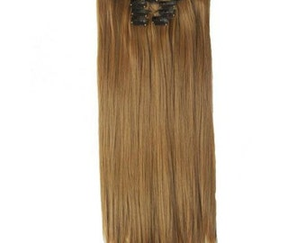 """22"""" Full Head Clip in Hair Extensions 8 pcs with 18 clips light brown Straight shade #12"""
