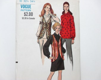 Vogue 7856 Misses' Blouse, Tunic or Dress With Cowl Neckline and Vest CUT Vintage 1970 Sewing Pattern