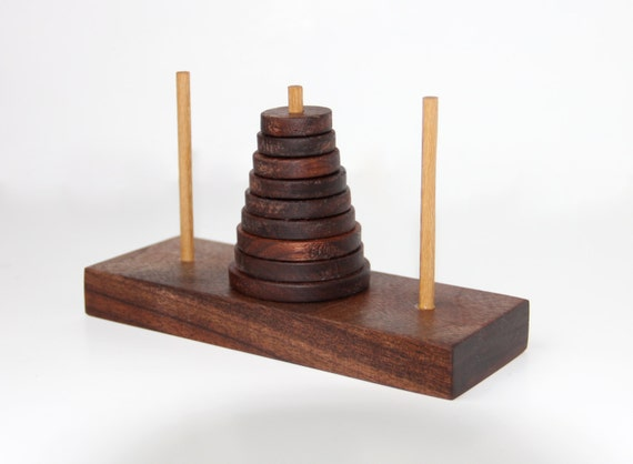 Wooden Tower of Hanoi Puzzle Game - Unique gift - Reclaimed wood - Brain Teaser