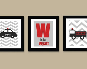 Police Car Art Print, Ambulance Childrens Art Print, Boys Art Print, Wall Art, Kids Art Print 532