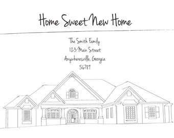 Personalized Moving Announcement With a Digital Rendering of Your New Home