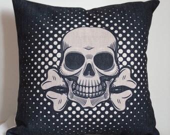 Decor pillow cover, Cotton Linen skull pillow cover, skull  pillow covers