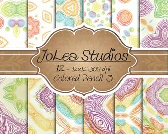 Digital Paper Colored Pencil 3 Theme, Scrapbook Paper Set, Instant Download, 12 x 12 Paper