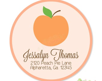 "2"" Round Address Labels - Sweet Georgia Peach - Birthday Favor Stickers"