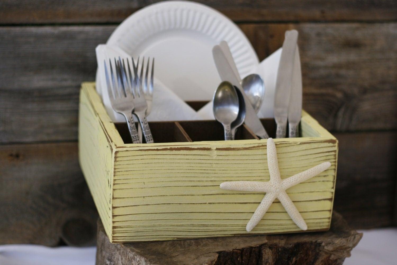 silverware napkin paper plate holder box handmade rustic wood. Black Bedroom Furniture Sets. Home Design Ideas