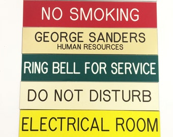 """Custom Engraved 2"""" X 10""""  Nameplate - Desk - Sign - Office Wall Door Personalized - All Colors"""